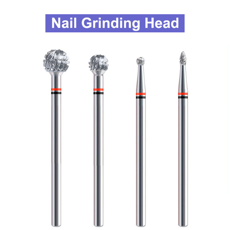 URANN Polishing Machine Nail Accessories Tungsten Steel Electric Manicure Drill 4 Types Nail File Drill Bit Grinding Head