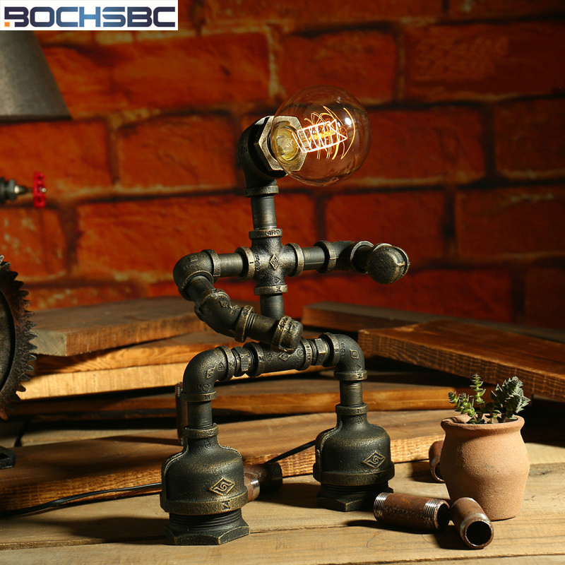 BOCHSBC Robot Design Desk Lights Loft Iron Pipe Table Lamp with Edison Bulb LED Lamps Industrial Vintage Water Pipe Luz de mesa fumat creative iron water pipe table lamps led industrial loft vintage desk lamps cafe bar robot table lamps for bedroom