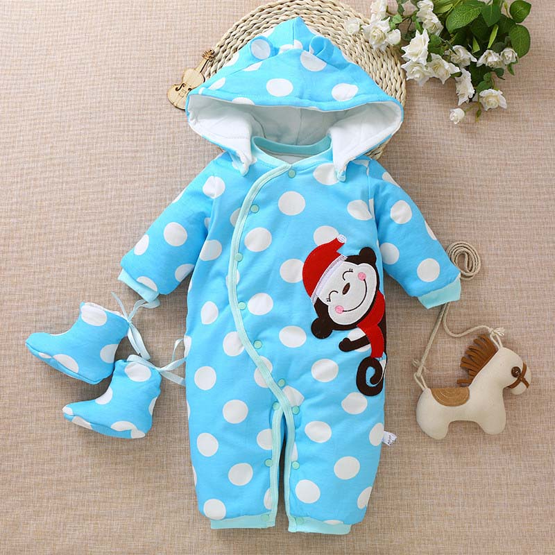 Newborn baby winter warm rompers toddler girls boys cotton soft thick hoodies sleepwear for bebe infant warm jumpsuits clothing new born baby winter cotton jumpsuits warm hoodied romper kids boys girls suits mama toddler clothing