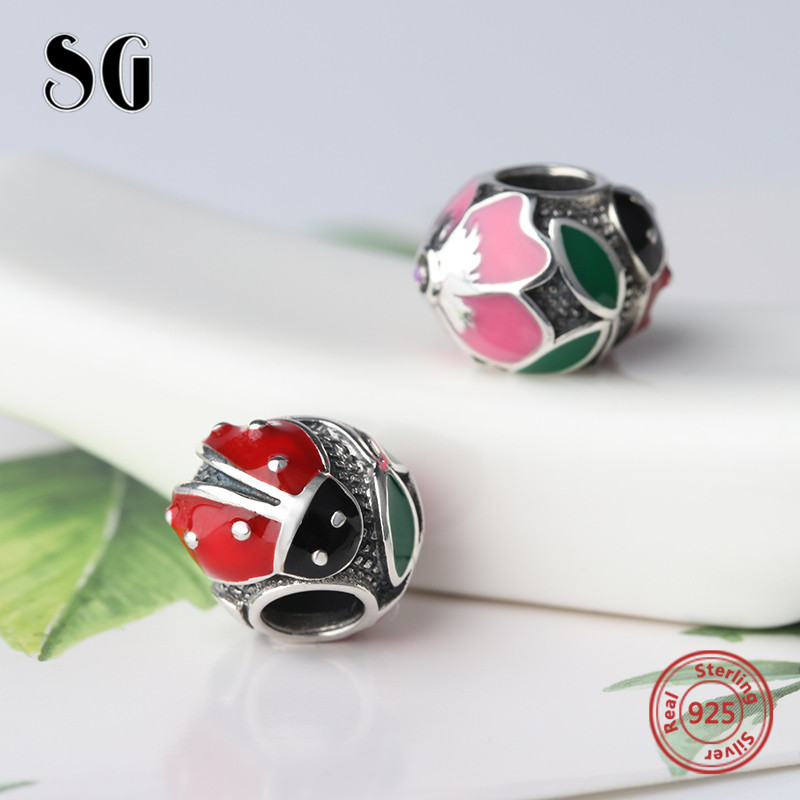 100% Real 925 Sterling Silver Charm Original Colour Enamel beetles Charms Beads Fit Authentic pandora Bracelets jewelry Making цена