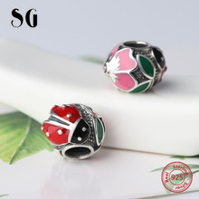 где купить 100% Real 925 Sterling Silver Charm Original Colour Enamel beetles Charms Beads Fit Authentic Pandora Bracelets jewelry Making  дешево
