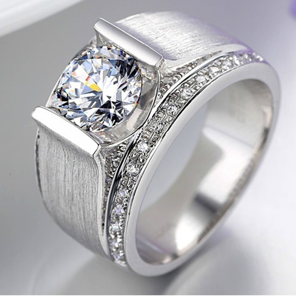 Handsome Man ring Synthetic Diamond 1 CT Engagement Sterling ...