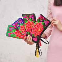 Wholesale 5pcs/lot Ethnic embroidery large women wallets Vintage Peony flower embroideried coin purse / Phone Pocket