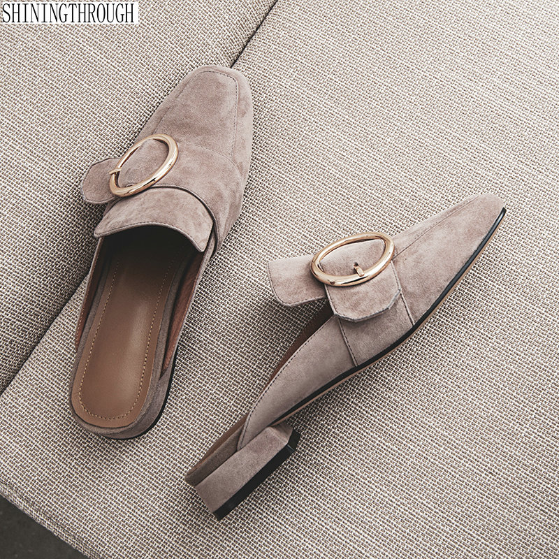 Women Slippers Slip On Mules Flat Women Casual Shoes British style Buckle Slipper Outdoor Slide Low Heel FootwearWomen Slippers Slip On Mules Flat Women Casual Shoes British style Buckle Slipper Outdoor Slide Low Heel Footwear