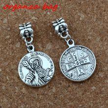 12Pcs/lot Religious Godfather cross Big Hole Dangle European Beads Antique silver Fit Charm Bracelet Jewelry DIY 17.8x33.8mm цена и фото