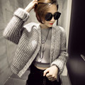 2016 Women Coarse Wool Cardigan Open Stitch Vintage Knitted Coat Casual Soft Handel Autumn Winter Knitted Outwear IP066