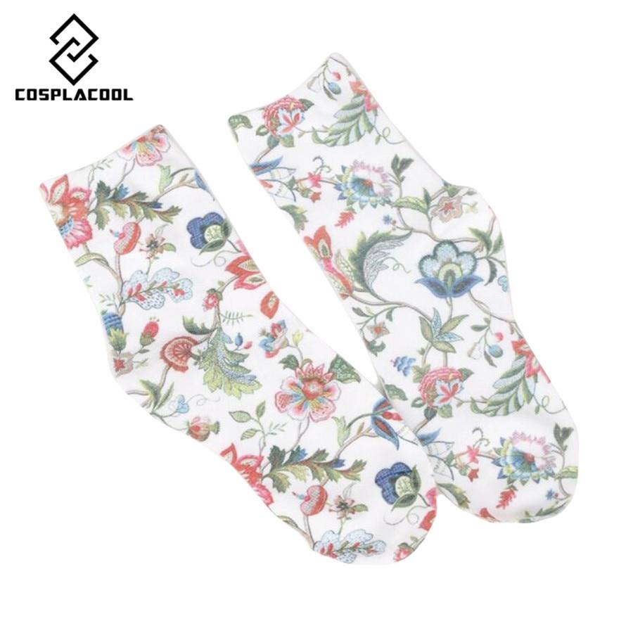 New! Spring fall/winter socks women's high quality retro fashion flower printing cotton female socks 5 color meias
