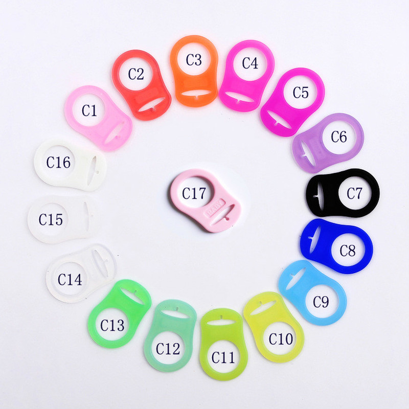 5 Pcs Color Baby Dummy Pacifier Holder Clip Adapter Ring Button Style Pacifier Adapter DIY Baby Accessories