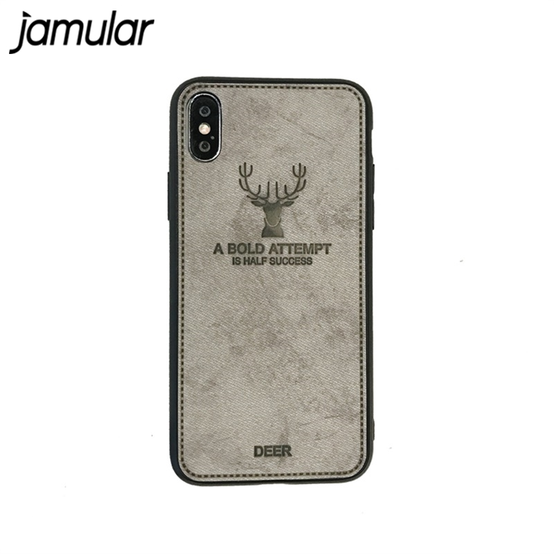 JAMULAR Retro Christmas Deer Phone Case For iPhone X XR XS MAX 7 8 6 6s Plus Cloth Texture Soft Silicone Back Cover For iPhone 8