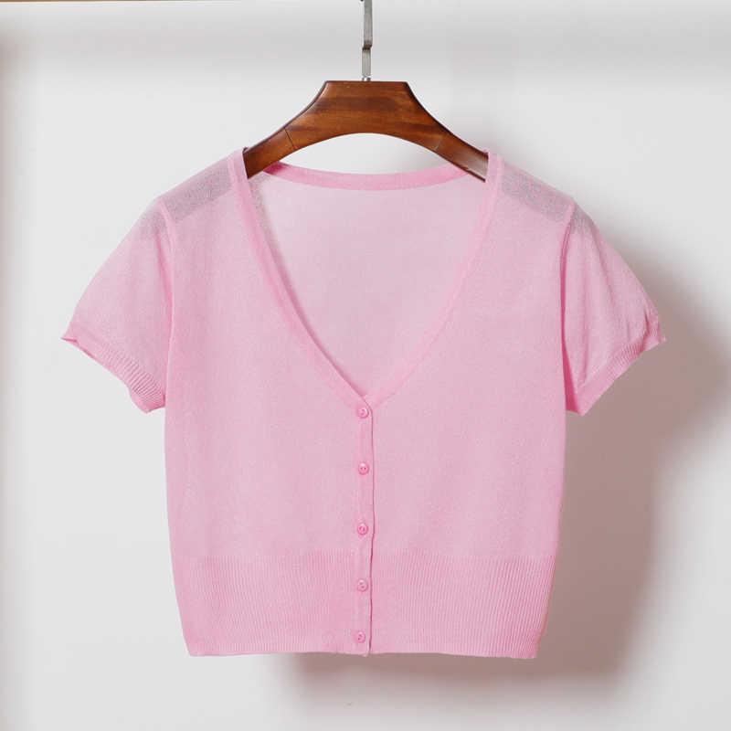 여름 여성 v-목 니트 캐주얼 얇은 스웨터 카디건 레이디 짧은 소매 여성을위한 Outwear 뜨개질
