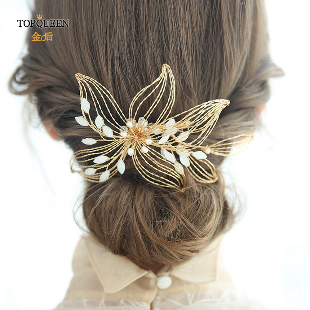 TOPQUEEN HP257 Wedding Accessories For Hair Wedding Facinators Wedding Decorations For Brides Bridal Accessories Gold Hair Piece