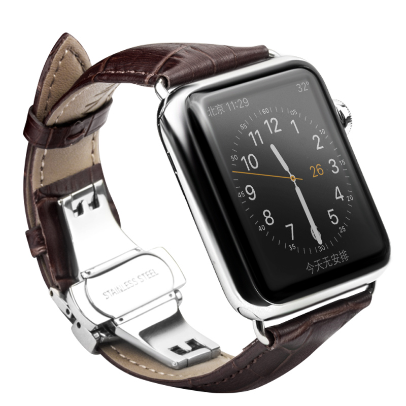 ROPS Genuine Leather Strap Watchband for iWatch Stainless Steel Connection Adapter for Apple watch 42mm 38mm Series1  Series2 kakapi crocodile skin genuine leather watchband with connector for apple watch 38mm series 2 series 1 pink