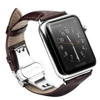Rops véritable bracelet en cuir bracelet pour iwatch acier inoxydable connexion adaptateur pour apple watch 42mm 38mm series1 series2