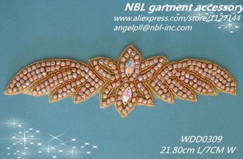(30pcs)Wholesale rainbow crystal AB rhinestone gold applique for dress garment bag WDD0309