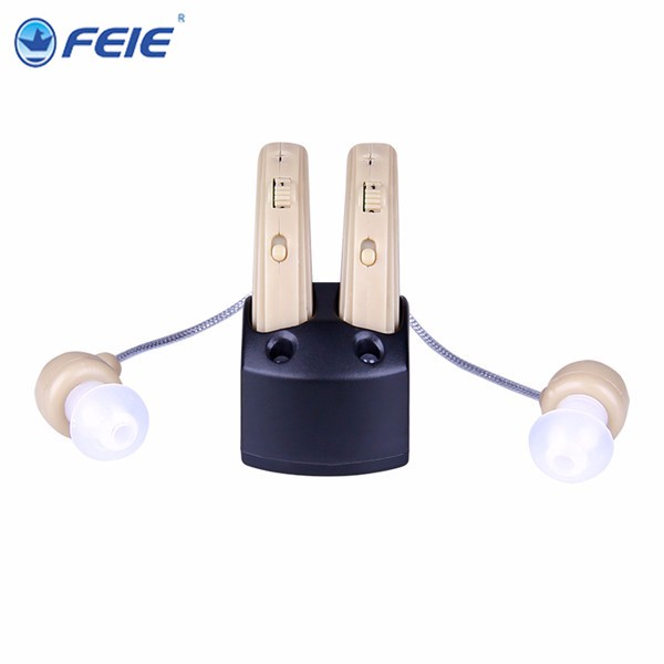 Dual devices mini rechargeable Hearing Aid Portable Small Adjustable Tone Digital Aids Care S-109S Free Shipping feie mini rechargeable hearing aid usb charger computer ajustable tone ear listen device s 109s drop shipping
