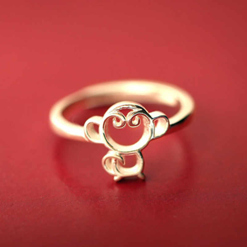 Fashion Female Creative Silver Plated Ring Jewelry Gold Color Monkey Rings Young Girl Gift Cheap  Cute Animal Ring
