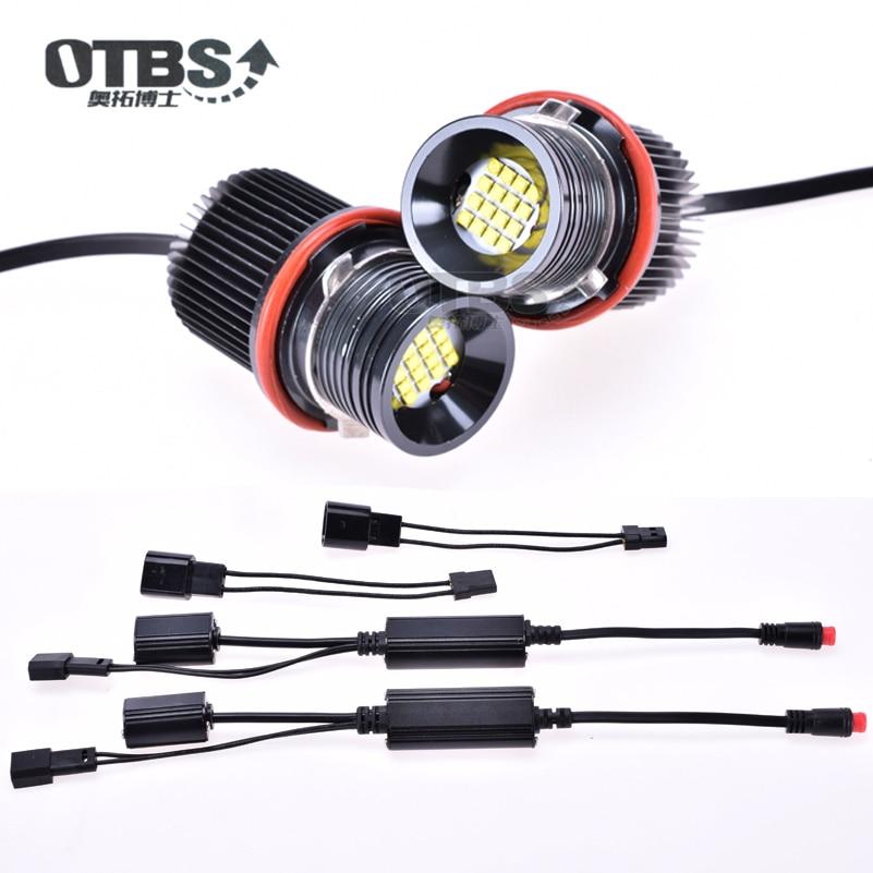 Новые мощные белые светодиодные лампы OTBS 160 Вт с ангельскими глазами, кольцевые галогенные светильник пы для дневных огней для BMW E39, E53, E60, E61, ...