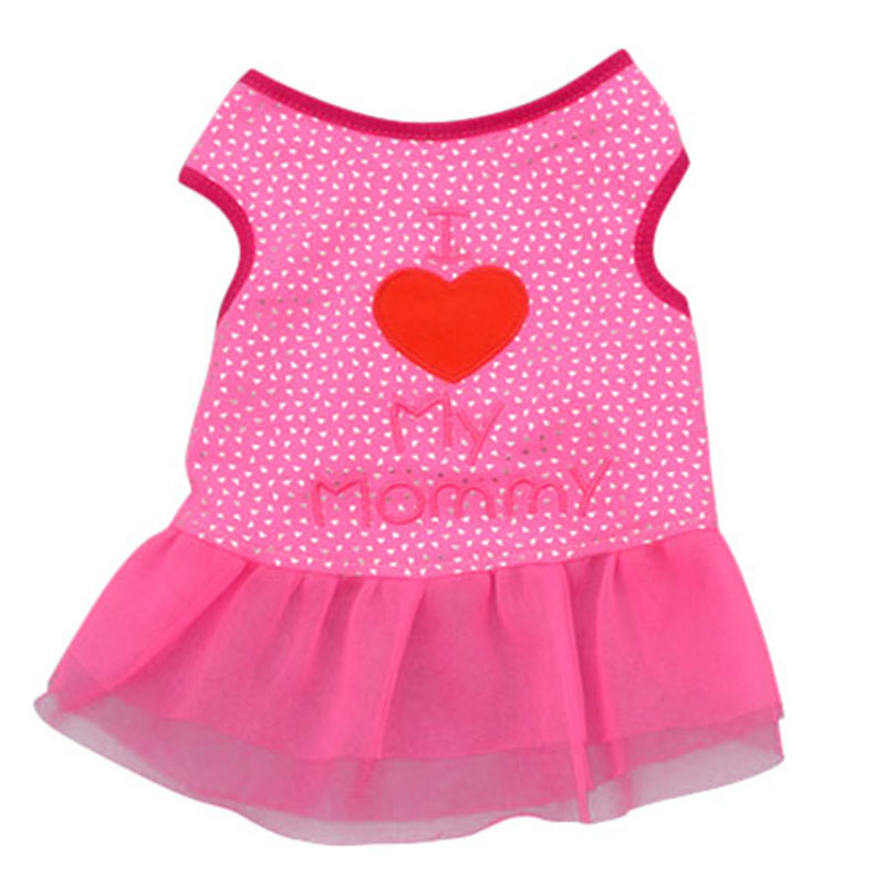 Heart Dog Summer Dress Letter Printed Small Dog Tops Dog Cat Puppy Clothes T Shirt Dress Pet Costumes