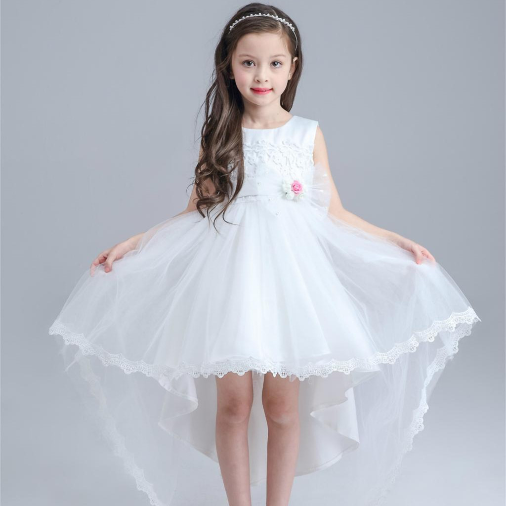 White Children Dress Princess Tail Long And Short In Front ...