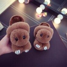 2018 Winter Autumn Cute Cartoon Rabbit Children's Home Slippers Boys Girls Cotton Indoor Shoes Children Keep Warm Plush Slippers цена 2017