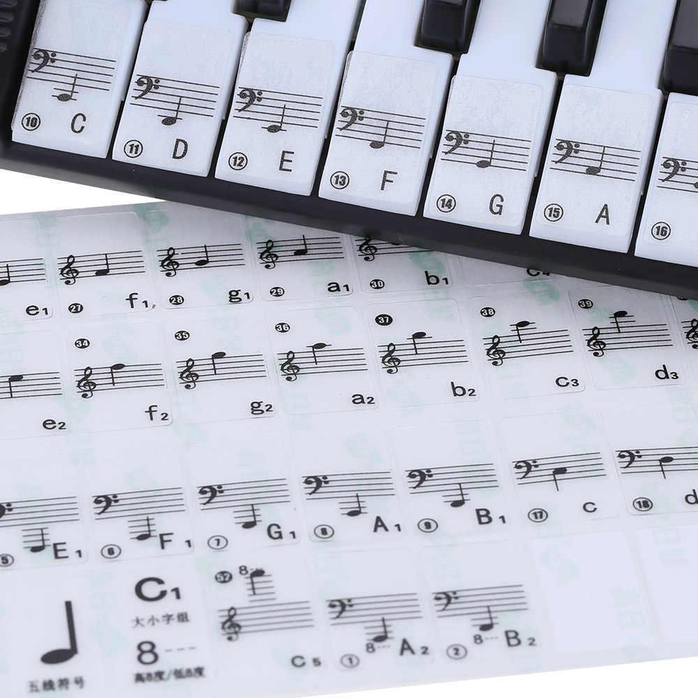 שקוף 49 61 מפתח אלקטרוני מקלדת 88 מפתח פסנתר להדוף הערה מדבקת לבן מפתחות