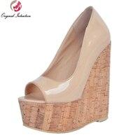 Intención Original Nuevas Mujeres Sandalias de Plataforma Cuñas Peep Toe Sandalias Desnudas Estilo Zapatos Mujer Plus Tamaño EE. UU. 4-15