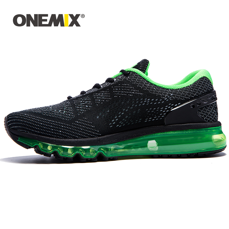 ONEMIX Summer Men Running Shoes for Man Air Cushion Sneakers Unique Tongue Athletic Trainers Black Green