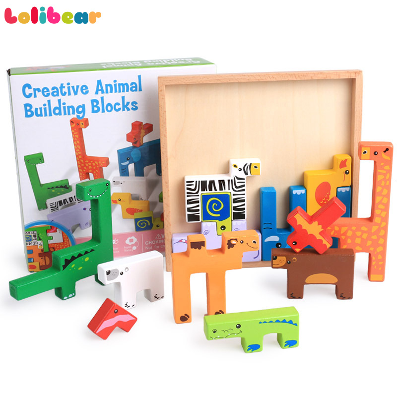 Montessori Wooden Puzzle 13pcs Cartoon Animal Peg Blocs 3D Shape Puzzle Learning and Education Toys for Early Children Gifts цена
