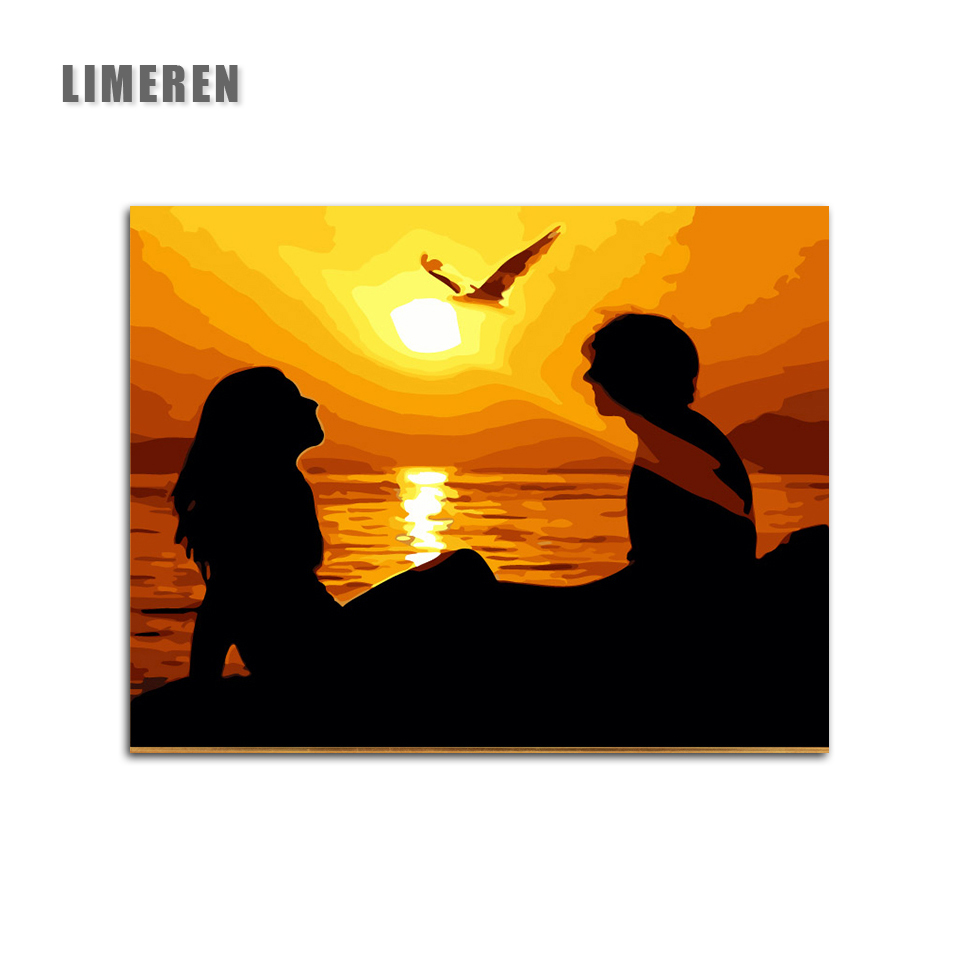 Sunset Lovers Seascape Painting Coloring By Numbers New Arrival Unique Gift Digital Oil Painting For Living Room Wall Art