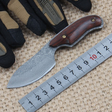 High carbon steel damascus knife handmade knife hardness 58HRC sharp hunting knife fixed einsatzmesser