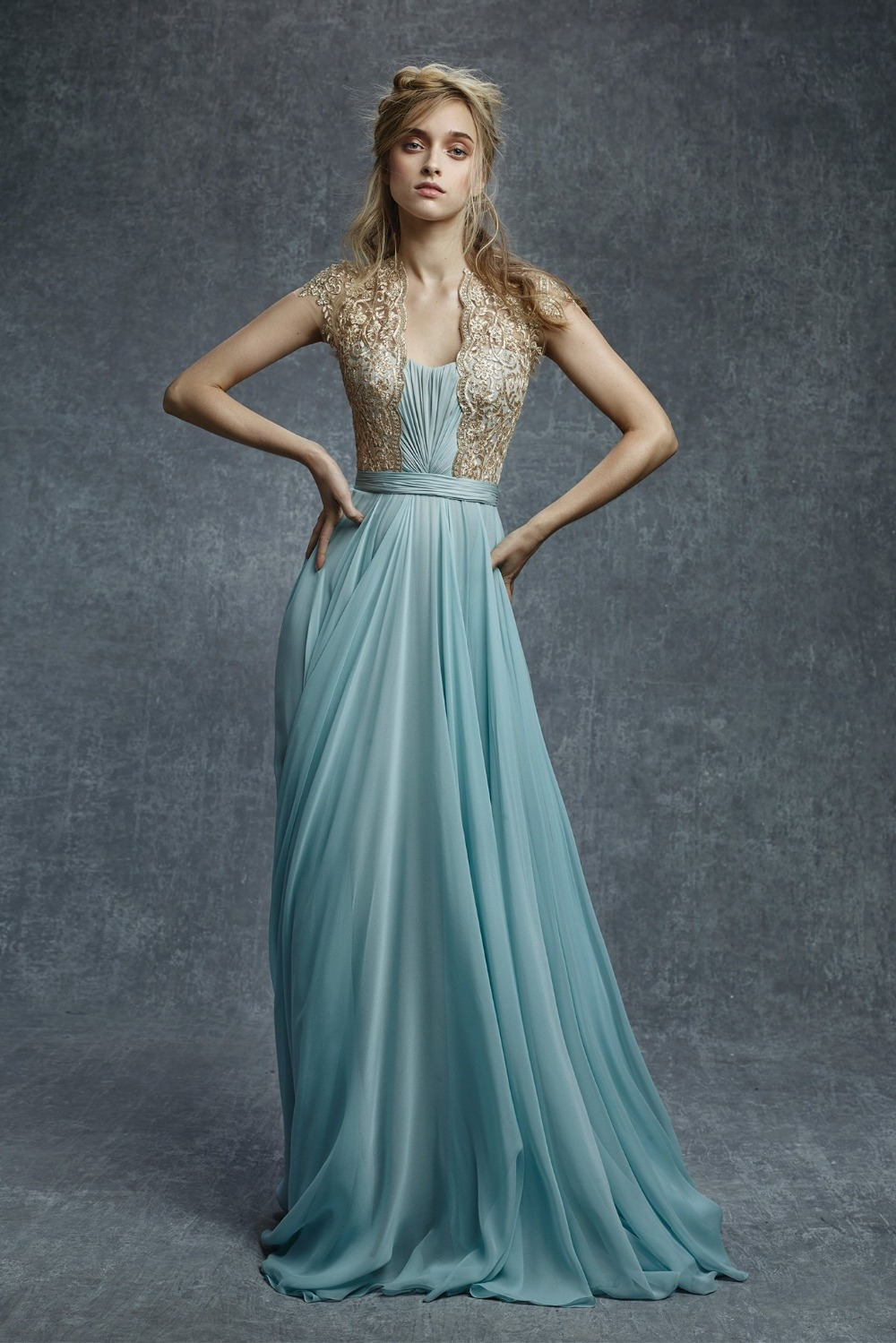 Aliexpress.com : Buy Light Blue Chiffon Evening Dresses With Gold ...