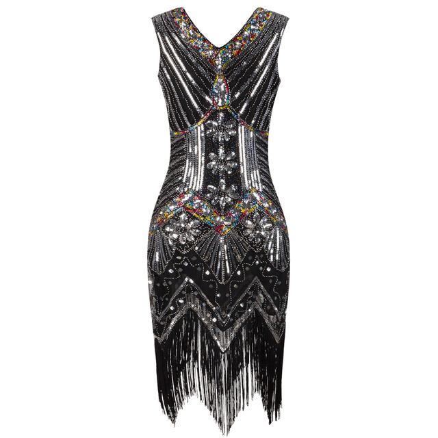 1920s Great Gatsby Color Sequins V Neck Tassel Dress