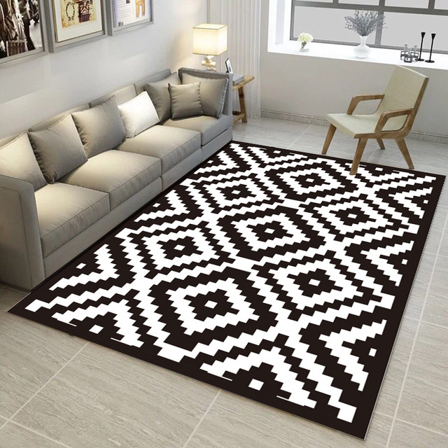Black And White Geometric Pattern Carpet Trend 3D Printed Rugs And Carpets  Living Room Coffee Table Yoga Sofa Antiskid Floor Mat