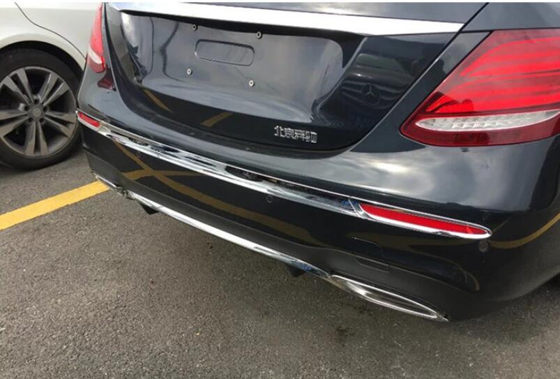 Modification de voiture Chrome garniture de couverture de pare-chocs arrière 1 pièces pour Mercedes Benz classe E W213 coupé 2016-2017