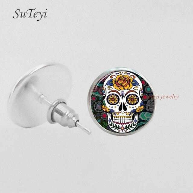 Suteyi Sugar Skull Earring Ear Studs Skulls Jewelry Gl Cabochon Stud Earrings Gifts