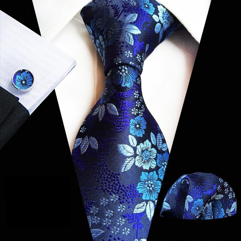 Luxury Men's 8 CM Floral Silk Necktie Pocket Square Cufflinks Set Wedding Party Business Neckties Handkerchief Set