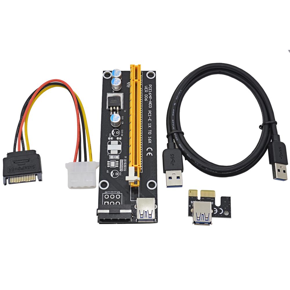 Prix pour 50 pcs 1 M PCI-E 1X à 16X Riser Card Extender PCI Express Adaptateur avec USB 3.0 Câble/15 Broches SATA à 4 Broches IDE Alimentation