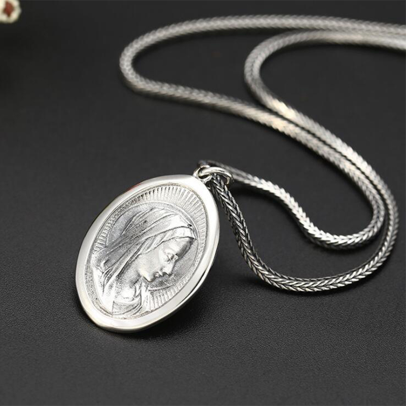 Image 2 - 2019 Creative Virgin Mary Portrait Pendant 100% 925 Sterling  Silver Men Women Necklace Pendant fine Jewelry sieraden maken  P36Pendants