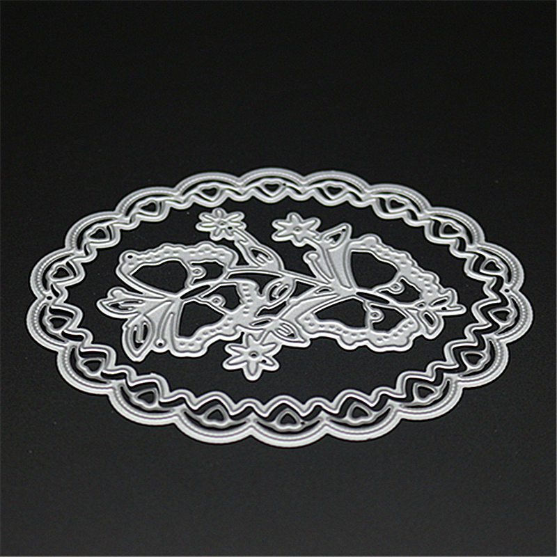ZhuoAng Oval flower border Metal Cutting Mold DIY Scrapbook Album Decoration Supplies Clear Stamp DIY Paper Card in Cutting Dies from Home Garden