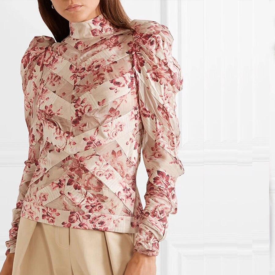 Haute qualité 2018 automne/hiver femmes Blouses chemise à manches longues fleur impression femmes chemises Top dame Sexy hauts à la mode tenues