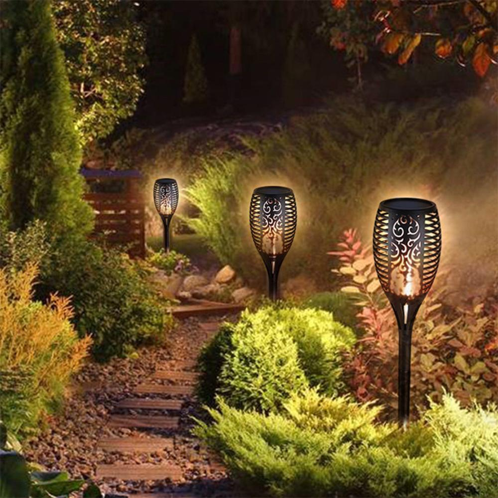 LED Lamp Waterproof Outdoor LEDs Lawn Flame Flickering Flame Torch Solar Powered Light Solar Fire Lights Garden Decoration