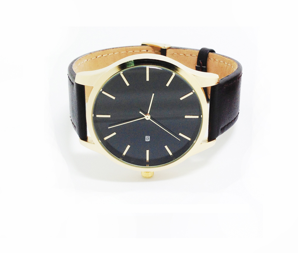 Gold Watches Men No logo name Genuine Leather Strap Quartz Movement with Date no name bri 1