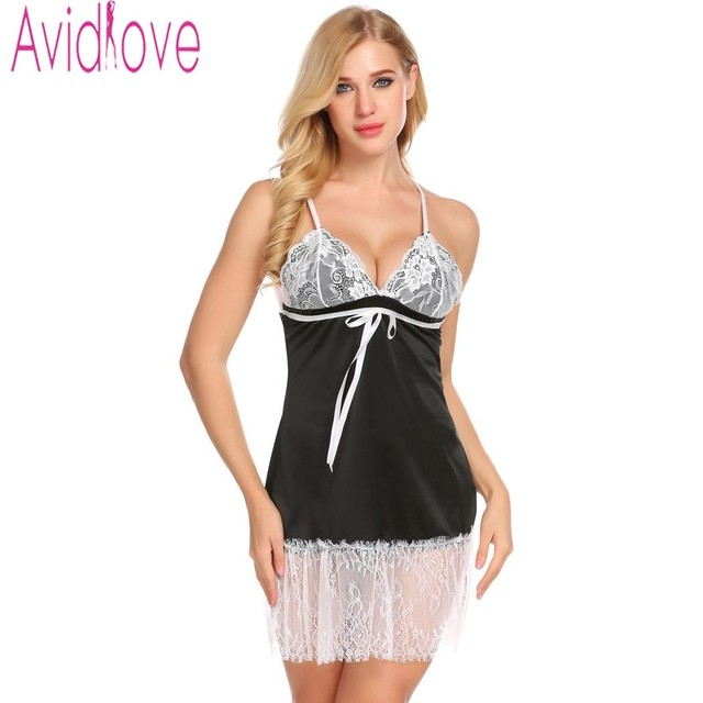 ae061048cf5 Avidlove Sexy Floral Lace Nightgown Sleepwear Women Nightwear Lace Patchwork  Nightdress Lingerie Nighty Chemise With G