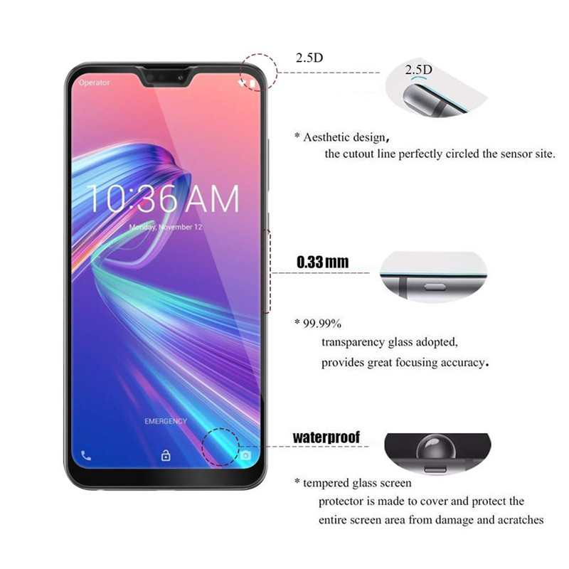 2 pcs protective glass For Asus Zenfone Max Pro M2 ZB631KL ZB633KL screen protector tempered glass 04