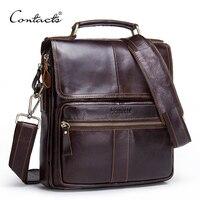 CONTACT S Brand 2017 NEW Genuine Leather Shoulder Bag Men Messenger Bags Zipper Design Men Commercial