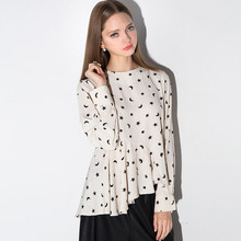 Hot Selling New Arrival Women Chiffon Shirt Autumn Long Sleeved Asymmetric Fold Hem Inclined Jacket Blouse Star Printing