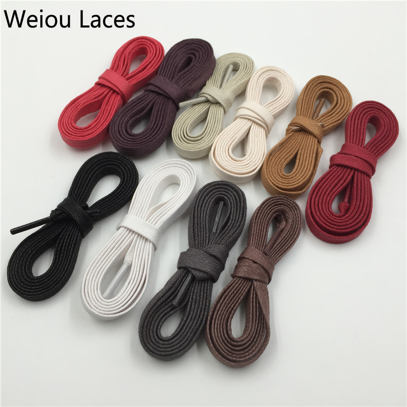 Premium Weiou White Black Flat Wax Shoelace Cotton Shoe Lace 8mm Width Shoestring Cord For Unisex Leather Shoes Boots String