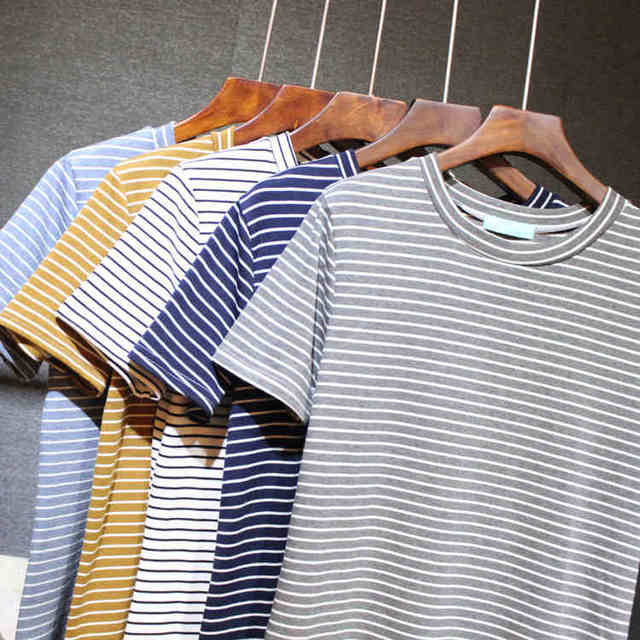 The new spring and summer 2016. All-match loose coat fine striped short sleeved t-shirt size female cotton shirt