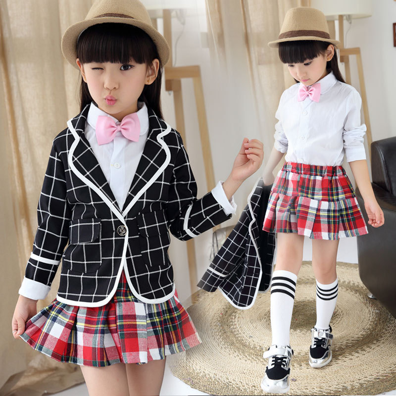 ФОТО New autumn winter baby girl school uniform brand vintage student kids children 3pcs clothing sets suit England style outfit
