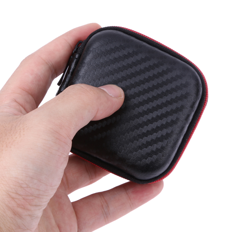 Black Square Mini Earphone Storage Case EVA Box Zipper Coin Bag For Memory Cards MP3 USB Cable Headset Bluetooth Earphone Cable